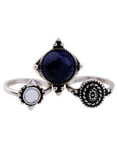 Artificial Sapphire Ring Set - Silver One-size