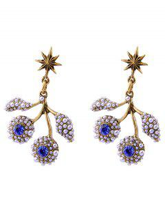Faux Pearl Rhinestone Hexagram Drop Earrings - Blue