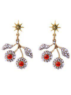 Faux Pearl Rhinestone Hexagram Drop Earrings - Red
