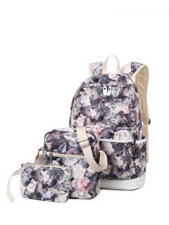 3 Pcs Flower Printed Backpack Set - Gray