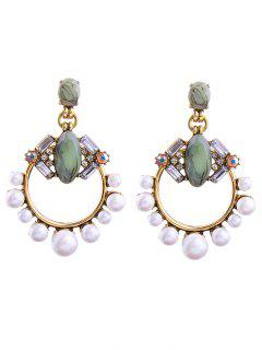 Faux Pearl Gem Circle Drop Earrings - White
