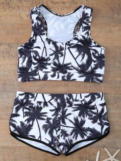 Palm Tree Print Boyshort Bikini - White And Black S