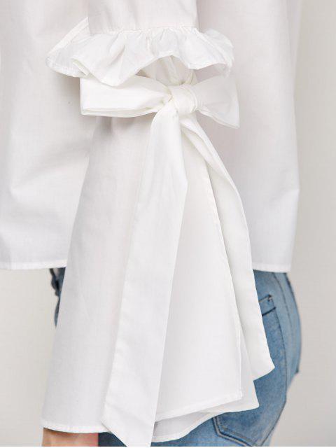hot Oversized Flare Sleeve Flounced Blouse - WHITE L Mobile