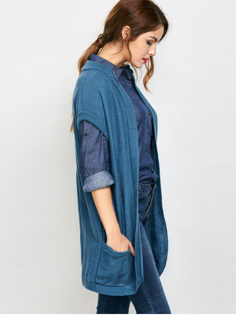 affordable Short Sleeve Knitted Cardigan with Pockets - BLUE S Mobile