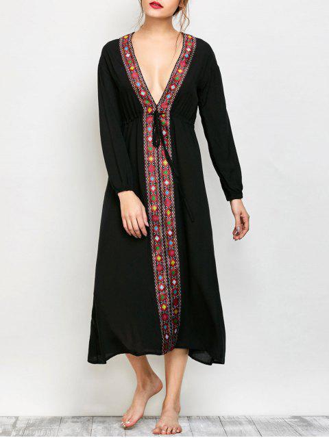 women Low Cut Belted Printed Vintage Dress - BLACK M Mobile