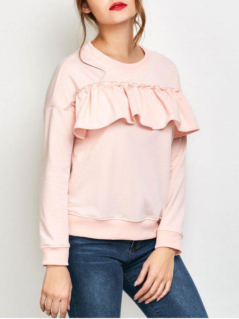 ladies Ruffles Jewel Neck Sweatshirt - PINK M Mobile