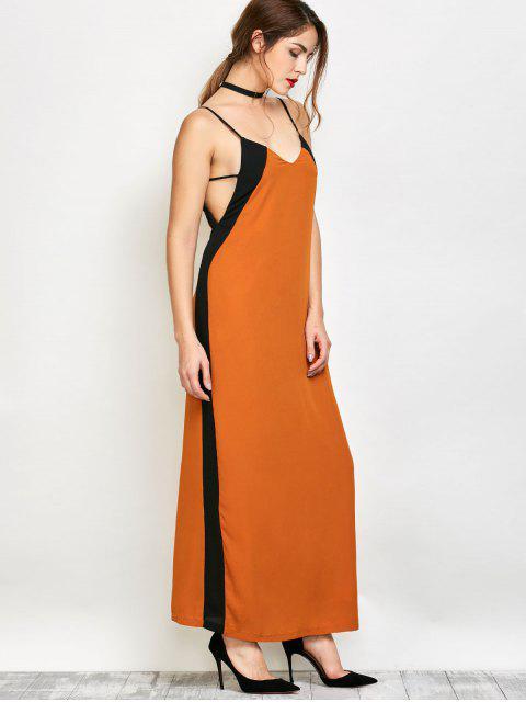 women's Contrast Stripe Maxi Slip Dress - CAMEL L Mobile
