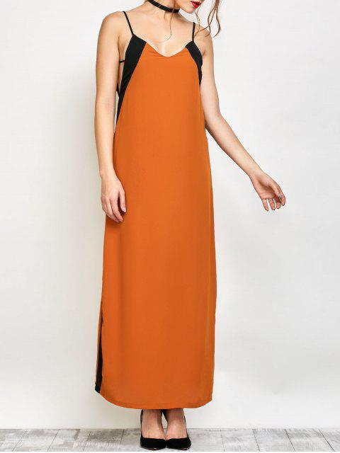 ladies Contrast Stripe Maxi Slip Dress - CAMEL M Mobile