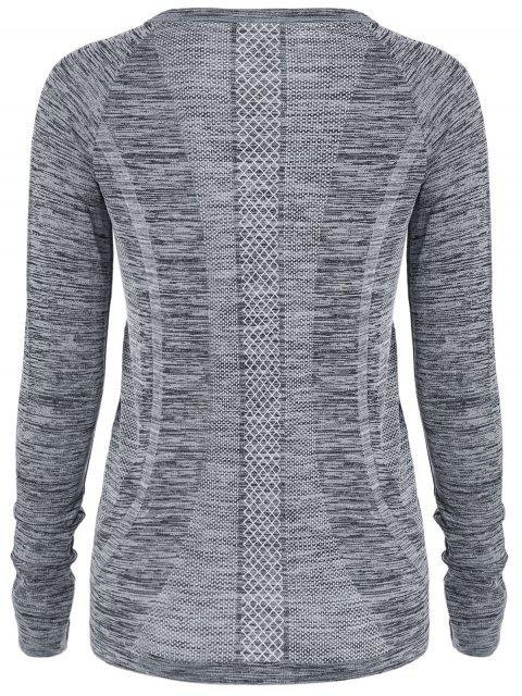 T-shirt gris de sport en crochet aux manches longues pour les femmes - Gris S Mobile