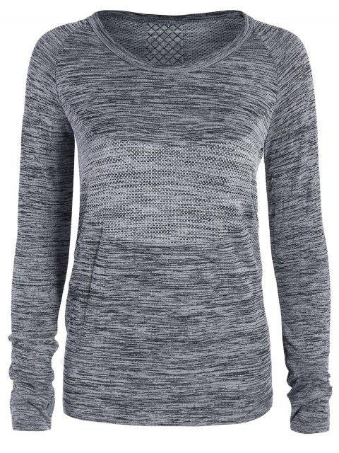 T-shirt gris de sport en crochet aux manches longues pour les femmes - gris M Mobile