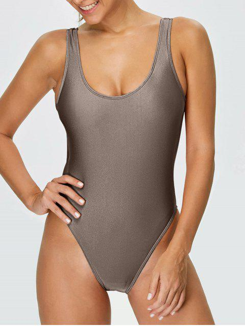 ladies High Cut Backless Swimsuit - KHAKI S Mobile