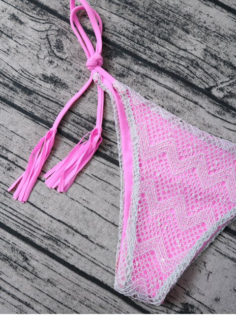 sale Tassel String Lace Thong Bikini - PINK M Mobile