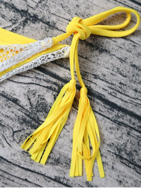buy Tassel String Lace Thong Bikini - YELLOW L Mobile
