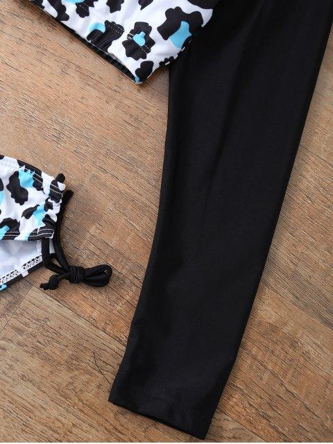women Leopard Print Cropped Rashguard Bathing Suit - LEOPARD L Mobile