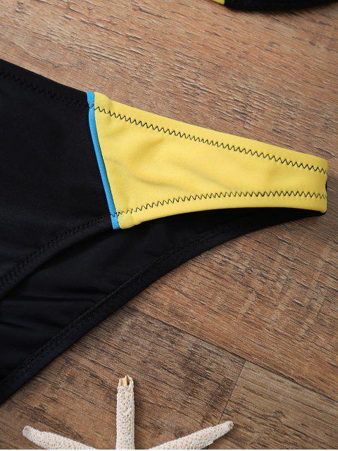 new Color Block Halter Underwire Bikini Set - YELLOW AND BLACK M Mobile