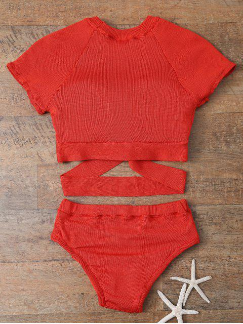 hot Banded High Neck Bikini - RED L Mobile