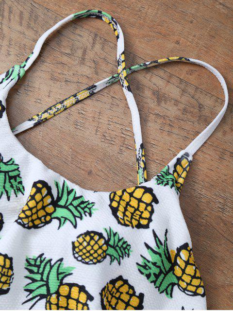 fancy Pineapple Print Frilly Cute One Piece Bathing Suit - WHITE M Mobile
