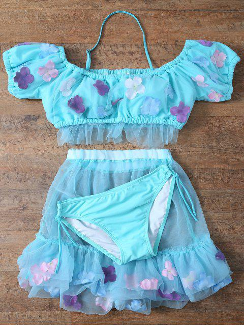 outfit Tulle Three Piece Bikini - LIGHT BLUE XL Mobile