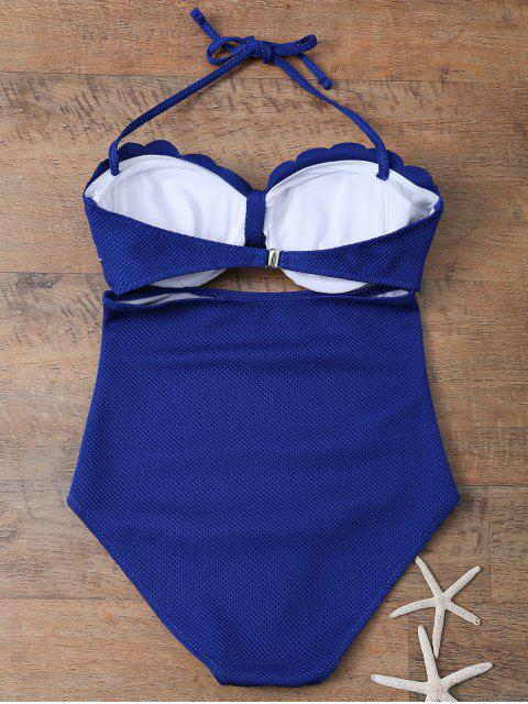 affordable One Piece Bow Halter Swimsuit - SAPPHIRE BLUE M Mobile
