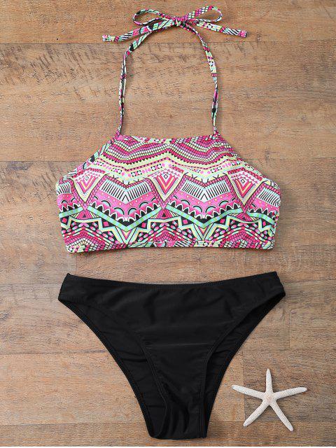 fancy Halter Bikini Set With Diamond Print - BLACK S Mobile