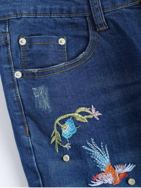 chic Zip Fly Flower Embroidered Jeans - DENIM BLUE M Mobile