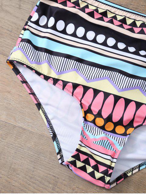 ladies Printed Push Up Vintage Bikini Set - BLACK S Mobile