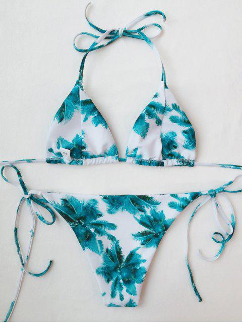new Palm Print Tie Side Thong Bikini - WHITE AND GREEN S Mobile