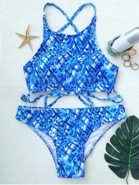 trendy Crisscross Back High Neck Printed Bikini - BLUE AND WHITE S Mobile