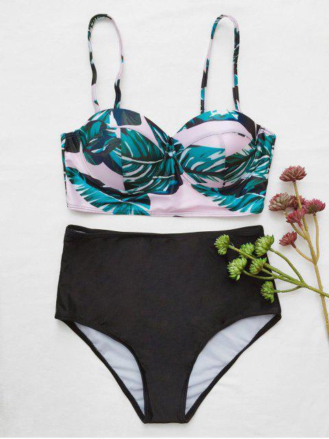 women's Push Up Tropical Print Underwire Bikini - BLACK L Mobile
