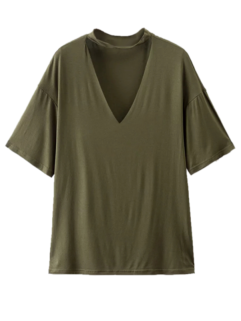chic Choker Drop Shoulder T-Shirt - GREYISH GREEN S Mobile