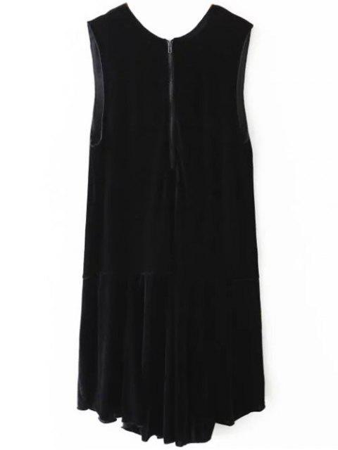 affordable Frill Hem Velvet Tank Dress - BLACK L Mobile