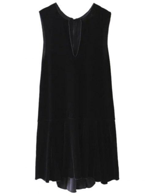 buy Frill Hem Velvet Tank Dress - BLACK M Mobile