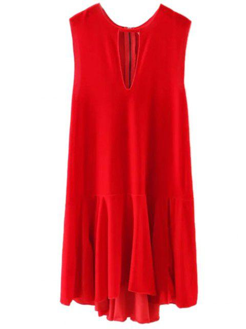 unique Frill Hem Velvet Tank Dress - RED M Mobile
