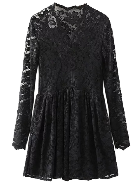 Dentelle V Neck Dress - Noir M Mobile