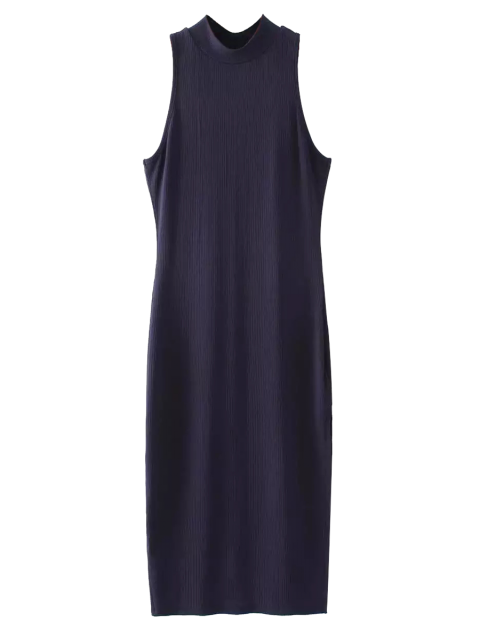 ladies Slit Sleeveless Bodycon Ribbed Dress - PURPLISH BLUE ONE SIZE Mobile
