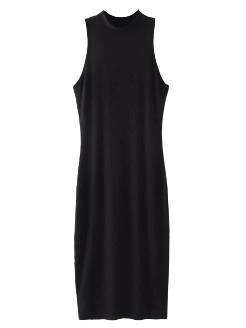 womens Slit Sleeveless Bodycon Ribbed Dress - BLACK ONE SIZE Mobile
