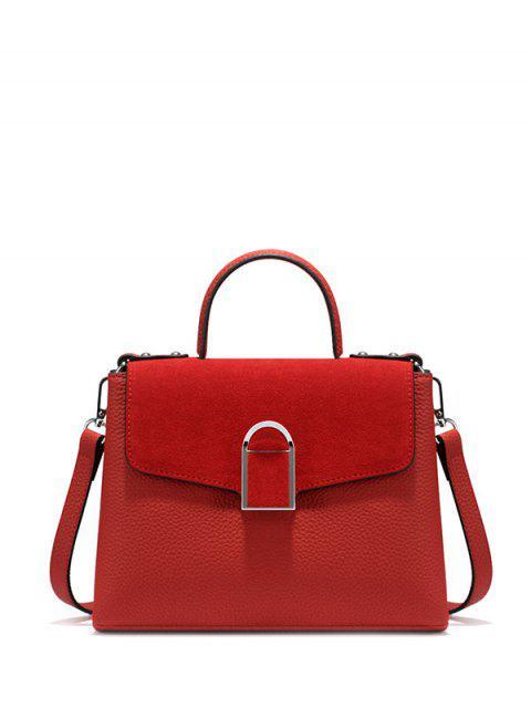 ladies Suede Panel Flapped Handbag -   Mobile
