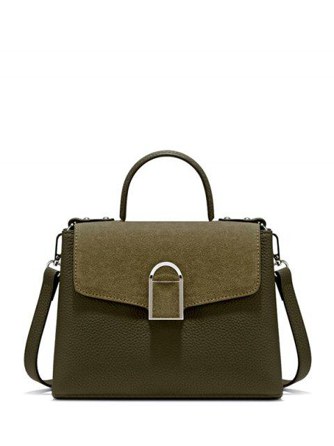 lady Suede Panel Flapped Handbag - GREEN  Mobile