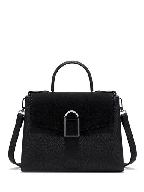 best Suede Panel Flapped Handbag -   Mobile