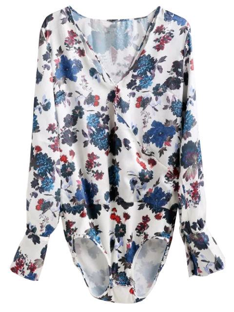shop Long Sleeve Floral Surplice Bodysuit Top - FLORAL L Mobile