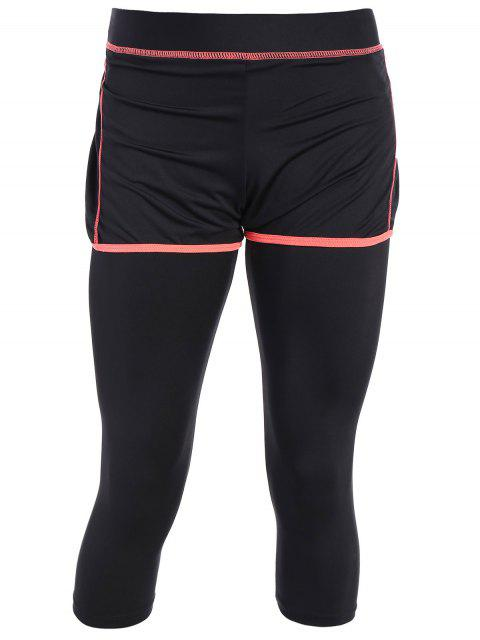 affordable Tight Fit Capri Leggings With Shorts - BLACK AND ORANGE S Mobile