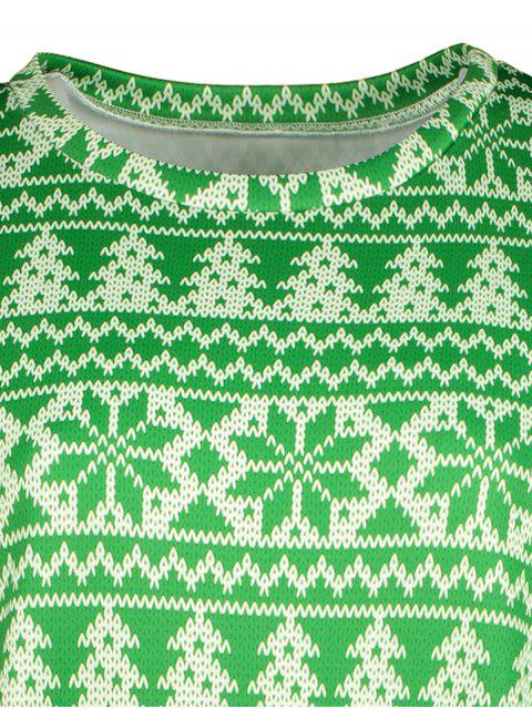 shop Snowflake Patterned Sweatshirt - GREEN XL Mobile