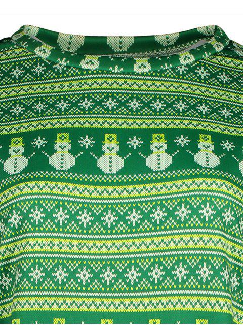 fashion Snowman Patterned Sweatshirt - GREEN XL Mobile