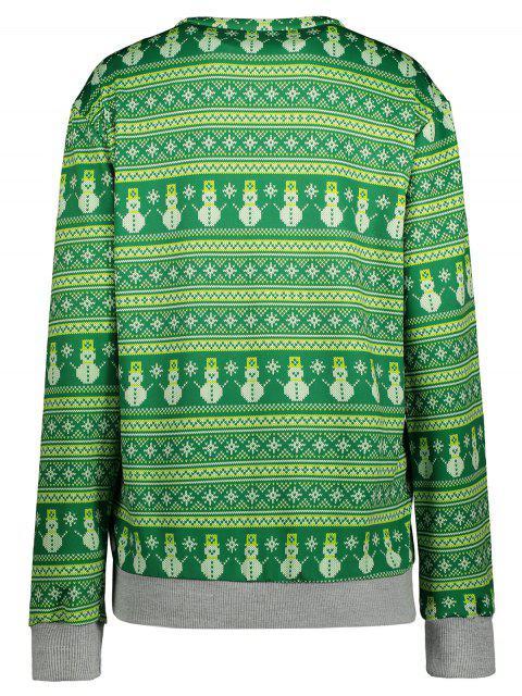 unique Snowman Patterned Sweatshirt - GREEN S Mobile