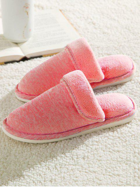 online Cotton Fabric Flat Heel Flocking House Slippers - PINK SIZE(39-40) Mobile