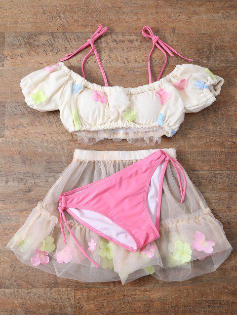 ladies Tulle Three Piece Bikini - OFF-WHITE M Mobile
