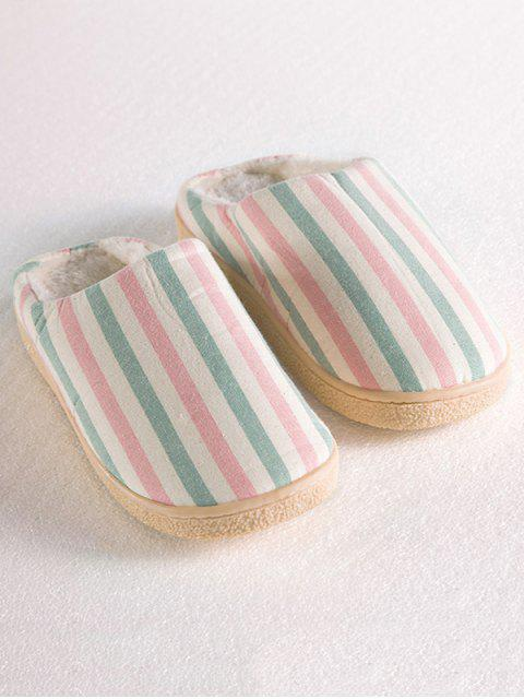 outfit Flat Heel Striped Flocking House Slippers - PINK SIZE(38-39) Mobile