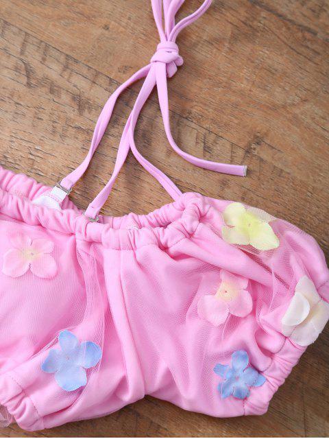 online Tulle Three Piece Bikini - PINK L Mobile