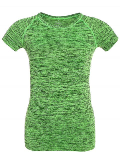 online Space Dye Short Sleeve Sports T-Shirt - NEON GREEN M Mobile