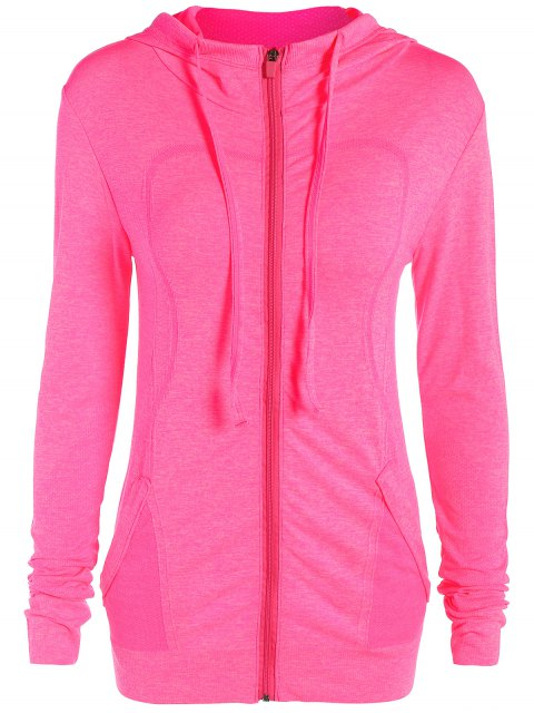 sale Marlled Hooded Active Sweat Jacket - ROSE RED L Mobile